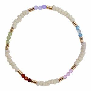 Perlearmbånd med genbrugte glasperler ædelsten i farver- Et af de populære tynde armbånd med perler fra Perlemust.