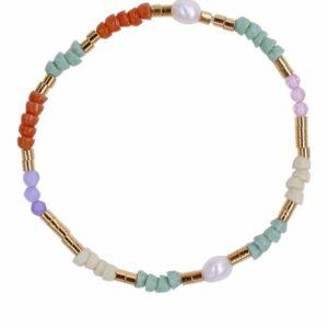 Perlearmbånd med genbrugte glasperler, ferskvandsperler og ædelsten i farver- Et af de populære tynde armbånd med perler fra Perlemust.