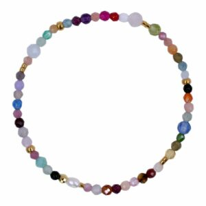 Perlearmbånd med ferskvandsperler og ædelsten i farver- Et af de populære tynde armbånd med perler fra Perlemust.