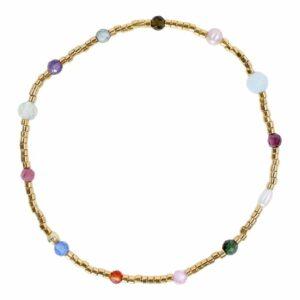 Perlearmbånd med guldbelagte perler og ædelsten i farver- Et af de populære tynde armbånd med perler fra Perlemust.