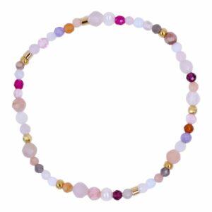 Lyserødt perlearmbånd med ferskvandsperler og ædelsten i farver - Et af de populære tynde armbånd med perler fra Perlemust.