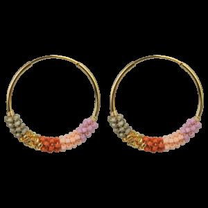 Cindy ørering  – Pink Crush/Gold Boheme hoops i forgyldt sølv