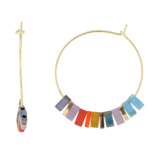 Mira ørering  – Multi/Gold Boheme hoops i forgyldt sølv