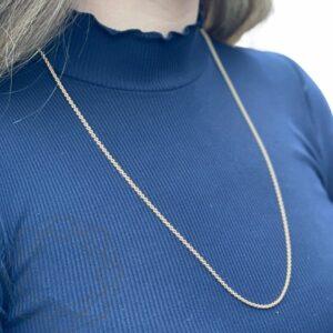 Halskæde – 14 kt guld (rund anker 2,3 mm) 14 karat halskæde i guld