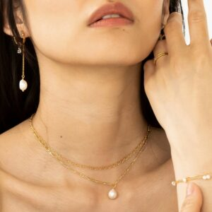 Echoes   Chain Gang   Wave halskæde – Forgyldt Carré halskæde i forgyldt sølv