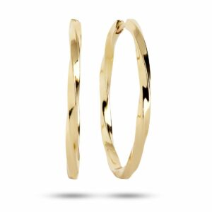 Echoes   The Twist  Hoops – Forgyldt (3,5 cm) Carré hoops i forgyldt sølv