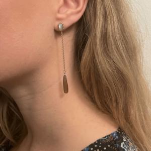 Gem Candy | Øreringe med labradorit og røgkvarts – Forgyldt Ædelsten JUWELS.DK