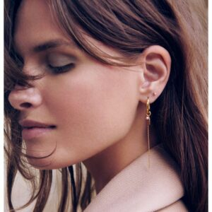 en fotomodel som har enamel forgyldt sølv ørering hoops delightful studs ørestikker i venstre øre