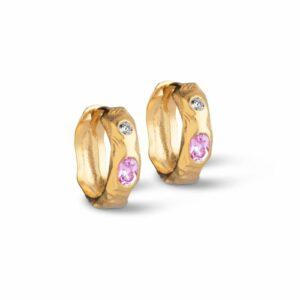 Leonora hoops – Forgyldt (Pink/White CZ) Boheme JUWELS.DK