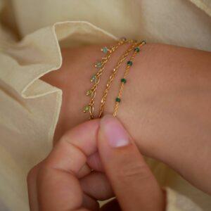 Lola armbånd – Petrol Green Armbånd armbånd i forgyldt sølv