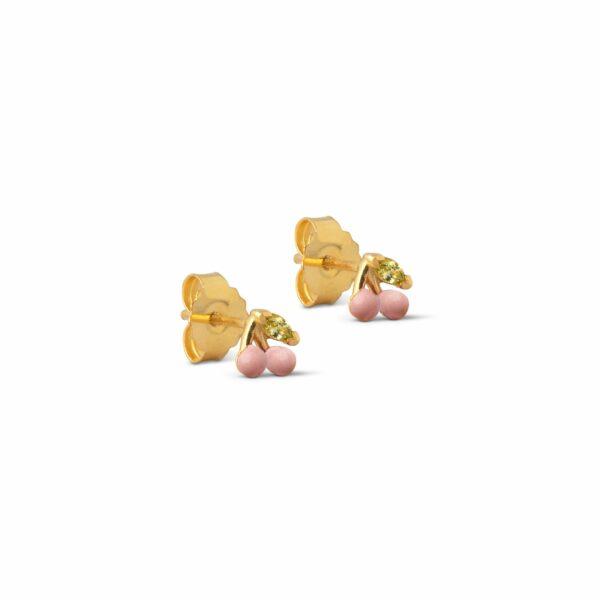 Cherry ørestikker – Light Pink Enamel ørering i lyserød