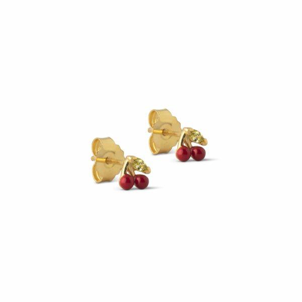 Cherry ørestikker – Red Enamel ørering i rød
