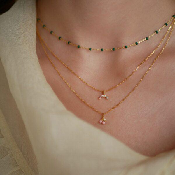 Lola halskæde – Petrol Green Enamel halskæde i forgyldt sølv