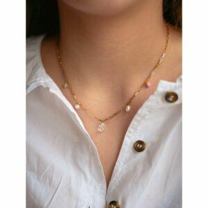 Mellow halskæde – Forgyldt Blå JUWELS.DK
