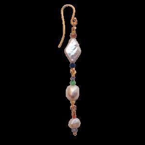 Percy ørering, single  – Sunset/Gold Boheme lang ørering i forgyldt sølv