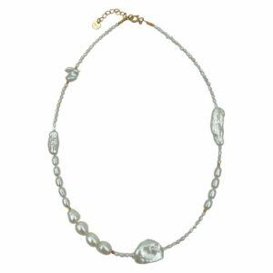 Nadine halskæde – Pearl/Gold Boheme JUWELS.DK
