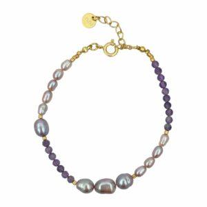 Lucy armbånd – Lavender/Gold Armbånd JUWELS.DK
