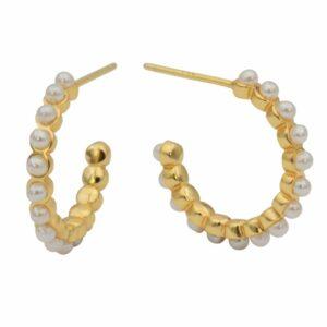 Karen øreringe – Pearl/Gold Forgyldt sølv JUWELS.DK