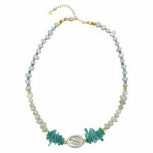 Carola halskæde – Turquise/Gold Blå halskæde i blå