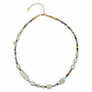 Deva halskæde – Multi/Gold Ædelsten halskæde i forgyldt sølv