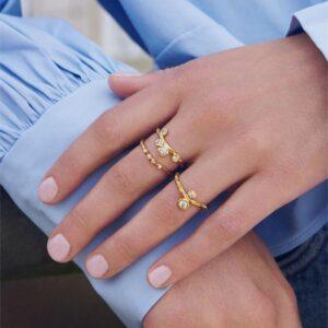 Lily ring – Forgyldt Boheme ring i forgyldt sølv