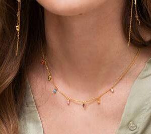 Princess Baguette | Halskæde m. multifarvede zirkoner – forgyldt Farverig halskæde i forgyldt sølv