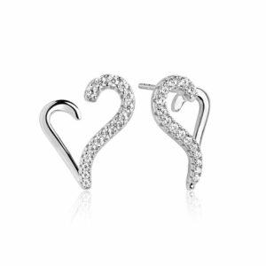 Sif Jakobs Valentine øreringe i sølv med hvide zirkoner - produktbillede