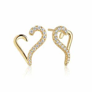 Øreringe i forgyldt sølv med hvide zirkoner fra Sif Jakobs Valentine kollektionen - produktbillede
