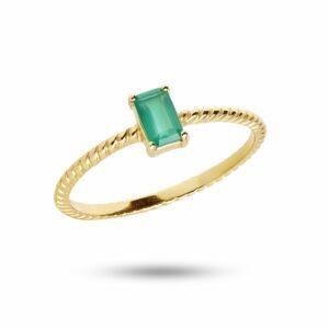 Gem Candy | Snoet ring med grøn agat – Forgyldt Ædelsten ring i forgyldt sølv