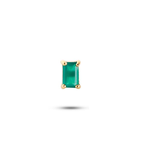 Confetti | Firkantet ørestik med grøn agat, Single – Forgyldt Ædelsten JUWELS.DK