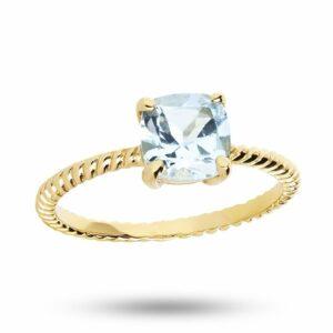 Beskyttet: Gem Candy   Snoet ring med blå sten – Forgyldt Ædelsten ring i forgyldt sølv