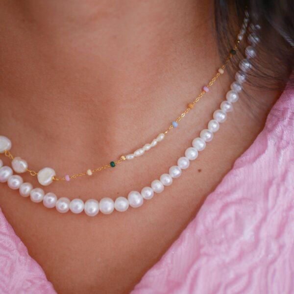 Lola Perla halskæde Boheme halskæde i forgyldt sølv