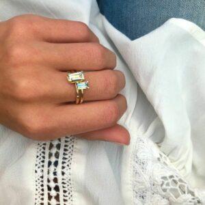 Nord | Blue ring S, turned 18 karat ring i blå