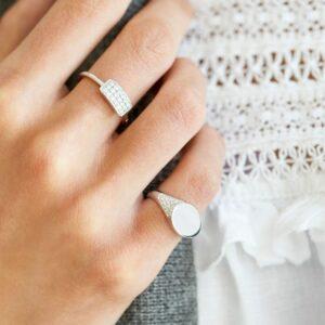 Rock | Diamant signetring 18 karat ring i hvidguld