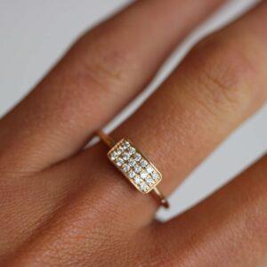 Rock | Square diamant ring 18 karat ring i hvidguld