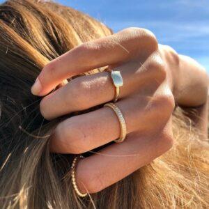 Rock   Square ring 18 karat ring i hvidguld