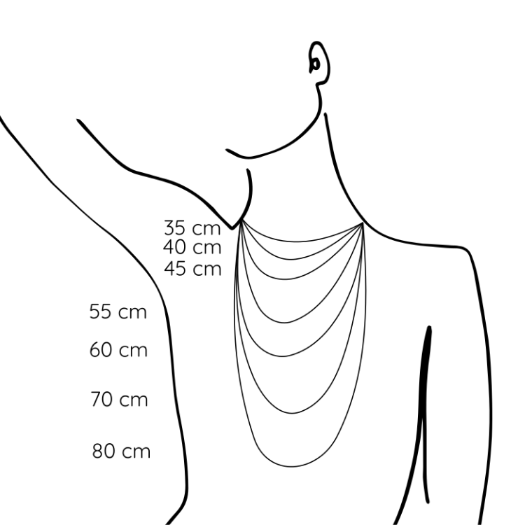 Størrelsesguide til hvordan man finder den rigtige halskædelængde